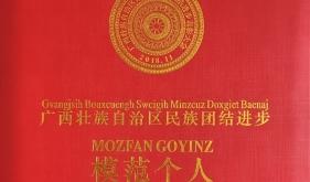 黄瑾明教授荣获广西民族团结进步模范个人